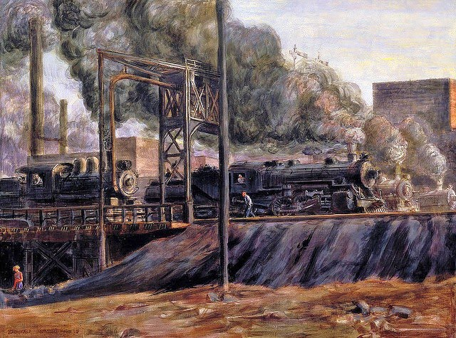 1934 Reginald Marsh (American artist, Locomotives, Jersey City, 1934