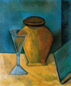 picasso pot wineglass and book