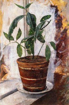 edvard munch potted plant on windowsill